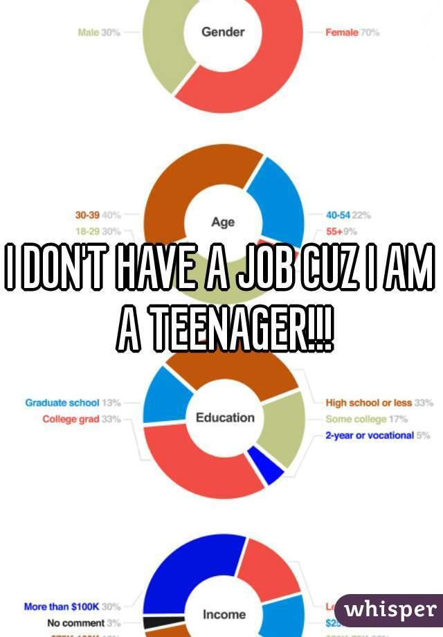 I DON'T HAVE A JOB CUZ I AM A TEENAGER!!!