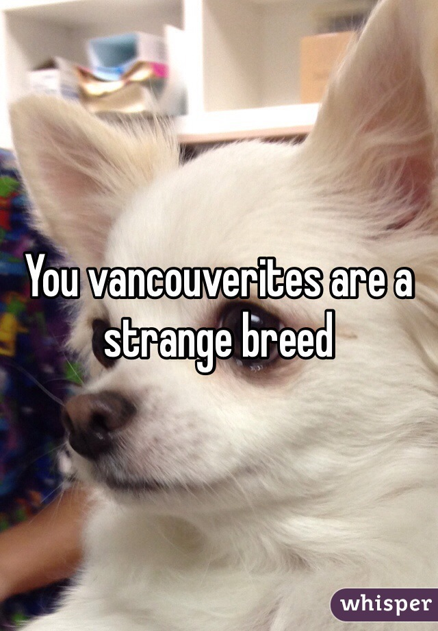You vancouverites are a strange breed
