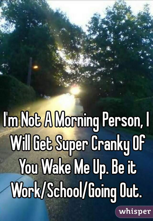 I'm Not A Morning Person, I Will Get Super Cranky Of You Wake Me Up. Be it Work/School/Going Out.