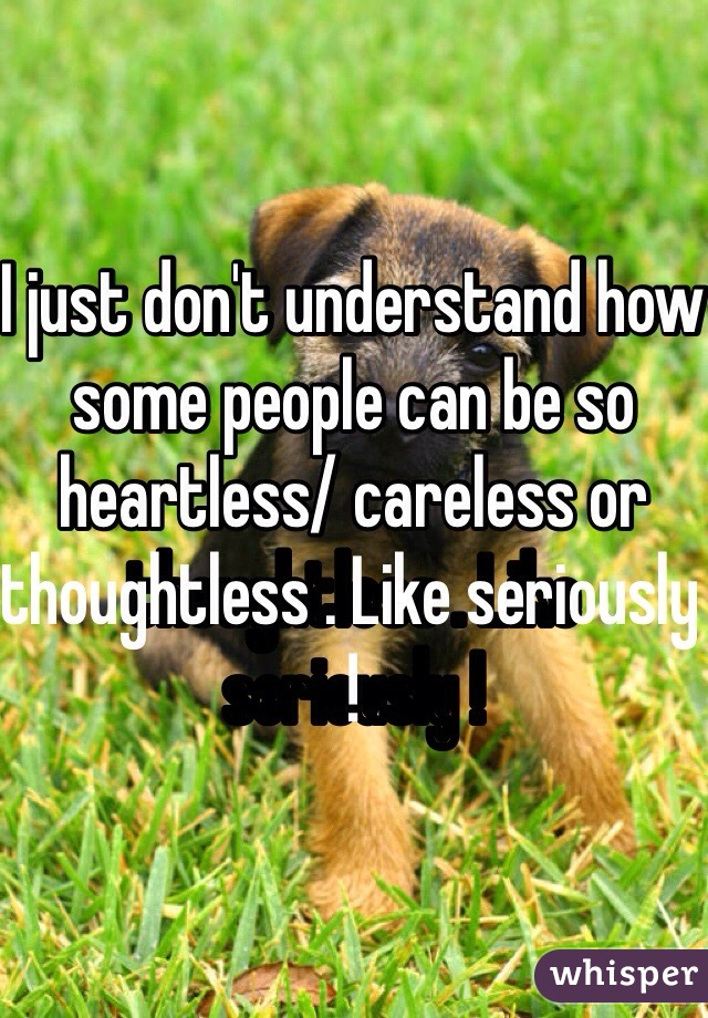 I just don't understand how some people can be so heartless/ careless or thoughtless . Like seriously !
