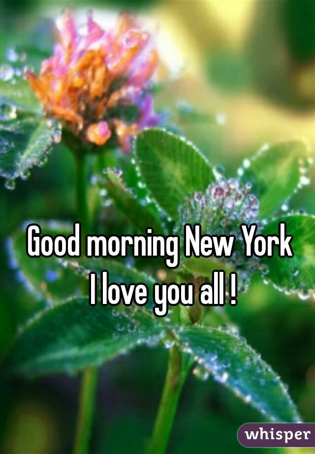 Good morning New York  I love you all !