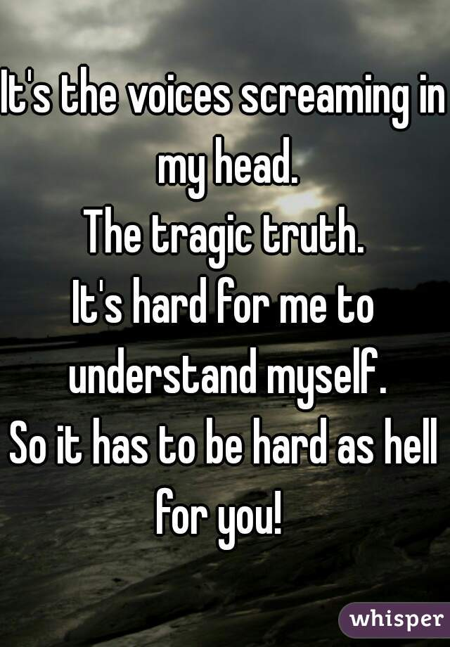 It's the voices screaming in my head. The tragic truth. It's hard for me to understand myself. So it has to be hard as hell for you!