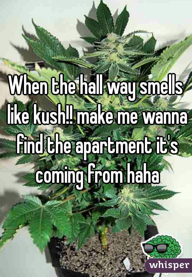 When the hall way smells like kush!! make me wanna find the apartment it's coming from haha