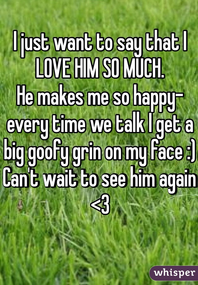 I just want to say that I LOVE HIM SO MUCH. He makes me so happy- every time we talk I get a big goofy grin on my face :) Can't wait to see him again <3