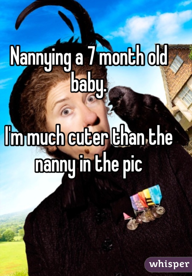 Nannying a 7 month old baby.   I'm much cuter than the nanny in the pic