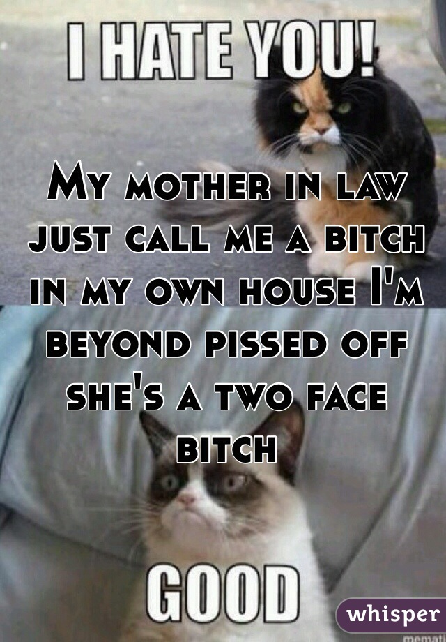 My mother in law just call me a bitch in my own house I'm beyond pissed off she's a two face bitch