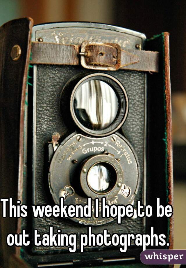 This weekend I hope to be out taking photographs.