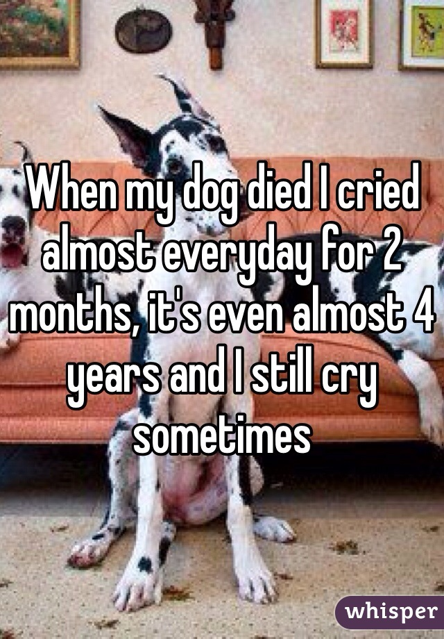 When my dog died I cried almost everyday for 2 months, it's even almost 4 years and I still cry sometimes