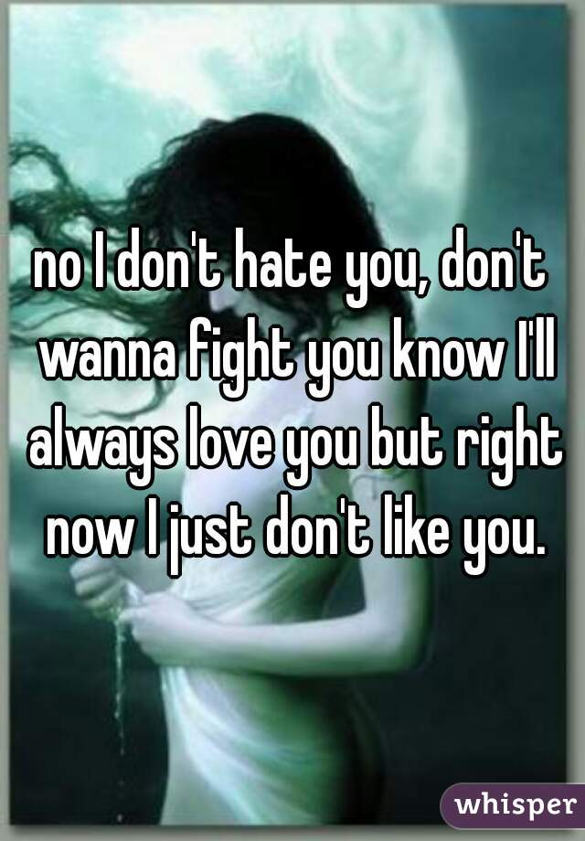 no I don't hate you, don't wanna fight you know I'll always love you but right now I just don't like you.
