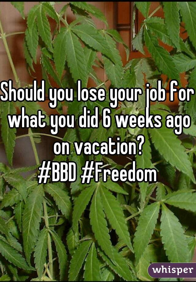 Should you lose your job for what you did 6 weeks ago on vacation? #BBD #Freedom