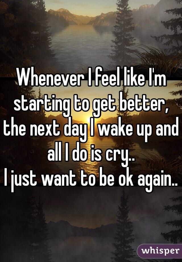 Whenever I feel like I'm starting to get better, the next day I wake up and all I do is cry..  I just want to be ok again..