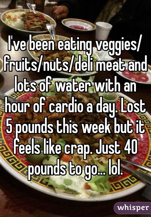I've been eating veggies/fruits/nuts/deli meat and lots of water with an hour of cardio a day. Lost 5 pounds this week but it feels like crap. Just 40 pounds to go... lol.
