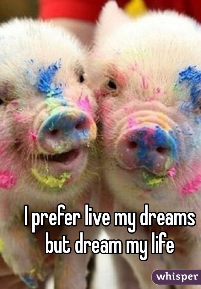 I prefer live my dreams but dream my life