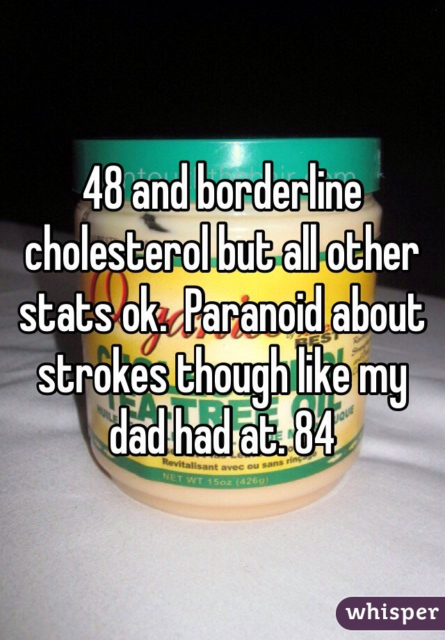 48 and borderline cholesterol but all other stats ok.  Paranoid about strokes though like my dad had at. 84