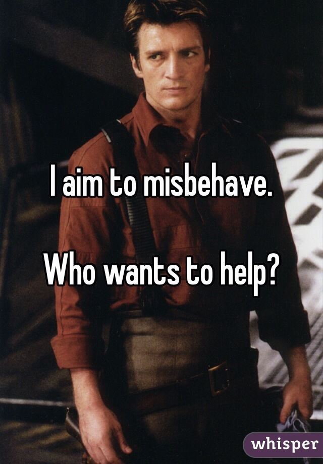 I aim to misbehave.   Who wants to help?