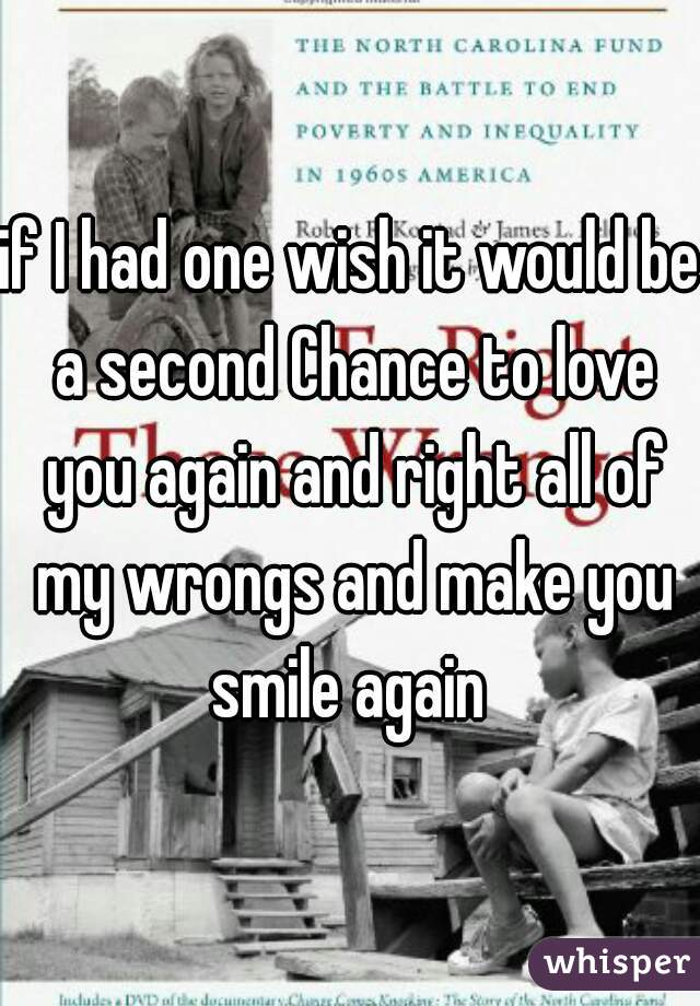 if I had one wish it would be a second Chance to love you again and right all of my wrongs and make you smile again