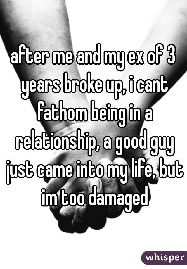 after me and my ex of 3 years broke up, i cant fathom being in a relationship, a good guy just came into my life, but im too damaged