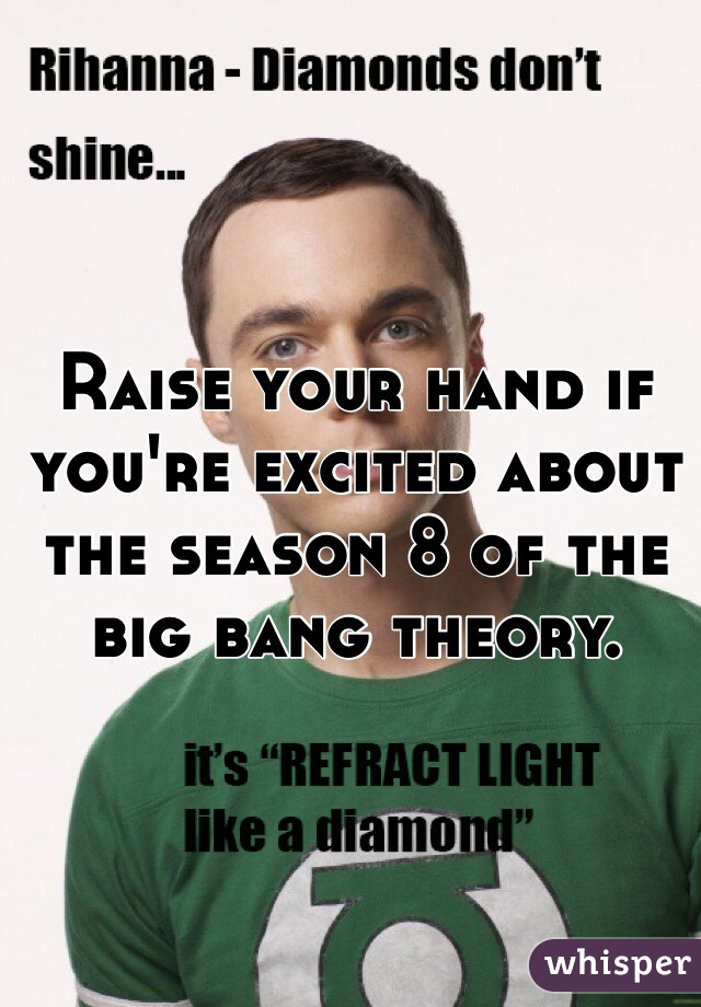 Raise your hand if you're excited about the season 8 of the big bang theory.