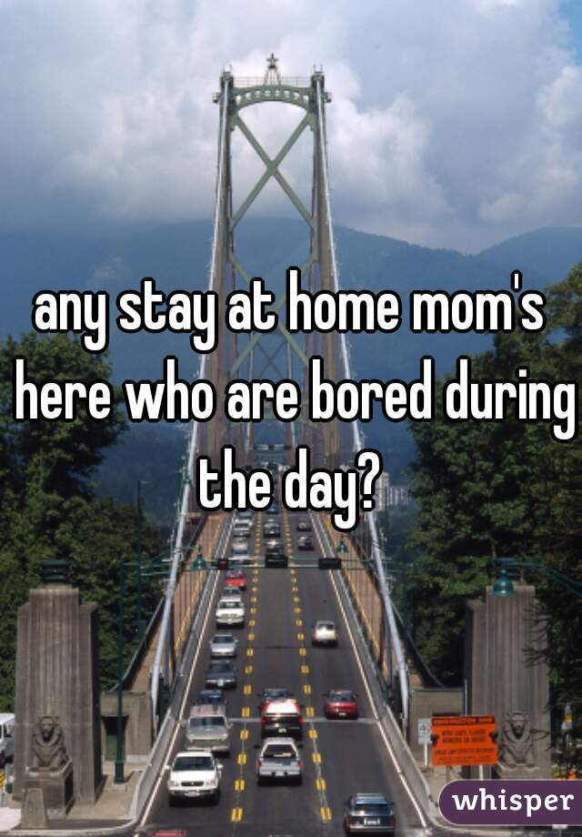 any stay at home mom's here who are bored during the day?