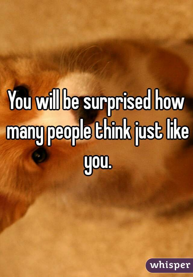 You will be surprised how many people think just like you.