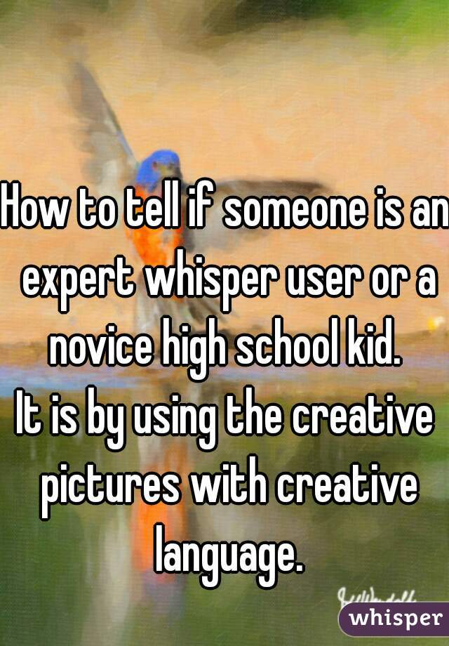 How to tell if someone is an expert whisper user or a novice high school kid.  It is by using the creative pictures with creative language.