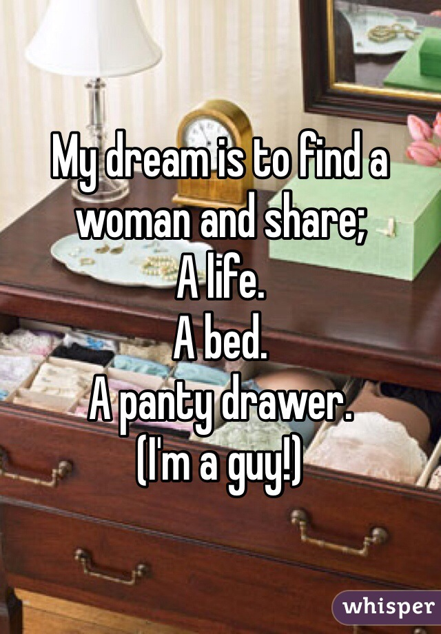 My dream is to find a woman and share; A life.  A bed.  A panty drawer.  (I'm a guy!)