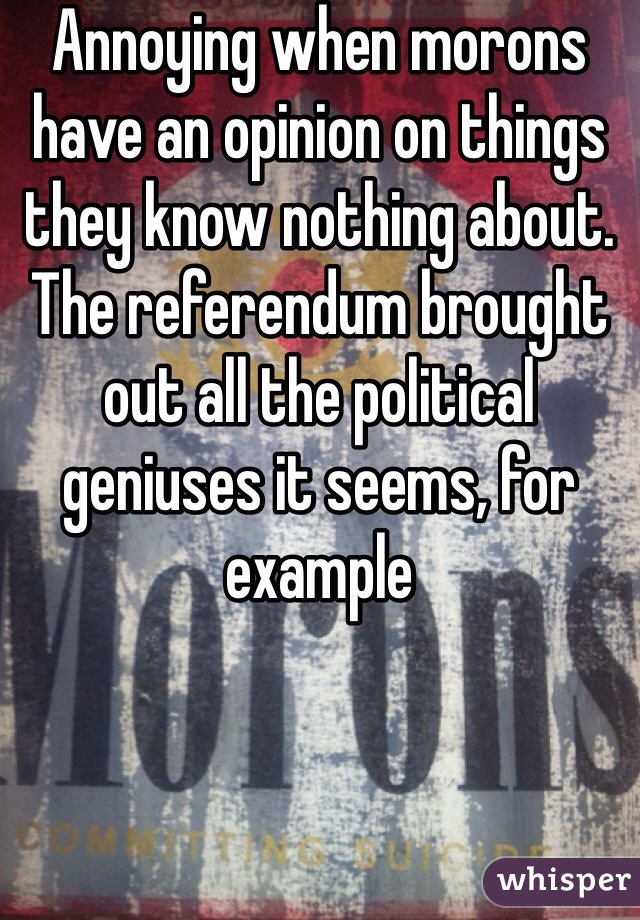 Annoying when morons have an opinion on things they know nothing about. The referendum brought out all the political geniuses it seems, for example