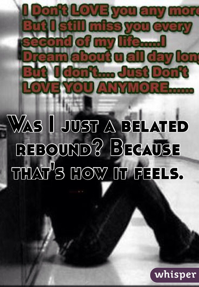 Was I just a belated rebound? Because that's how it feels.
