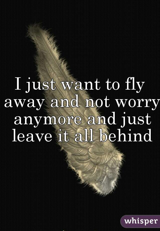 I just want to fly away and not worry anymore and just leave it all behind