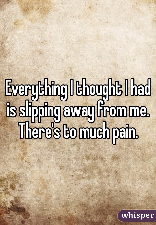 Everything I thought I had is slipping away from me. There's to much pain.