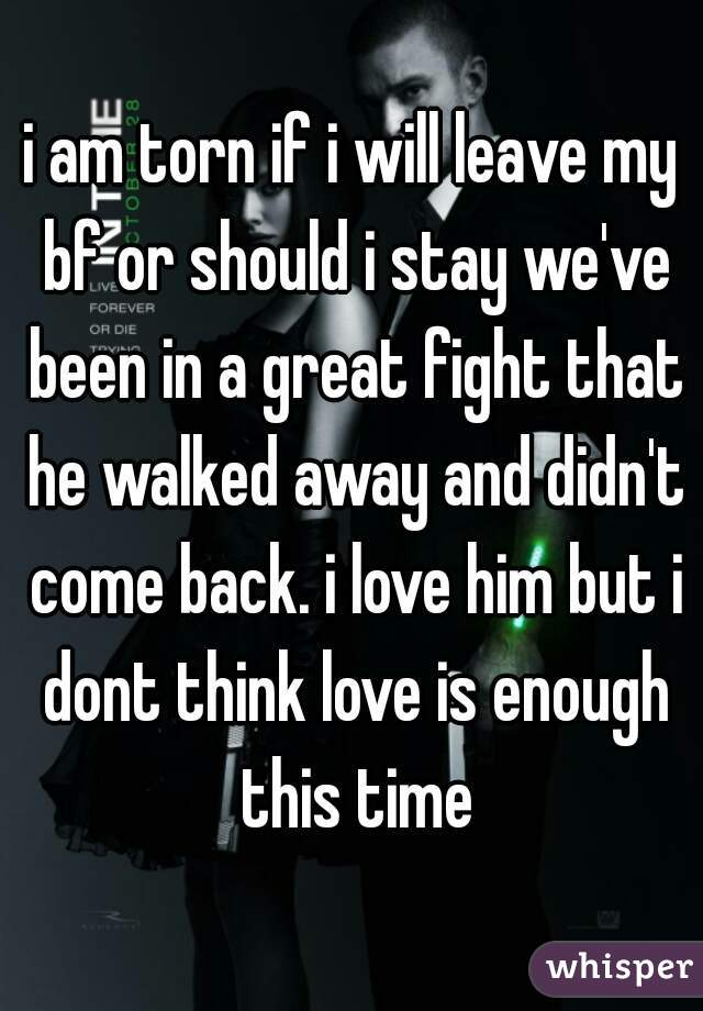 i am torn if i will leave my bf or should i stay we've been in a great fight that he walked away and didn't come back. i love him but i dont think love is enough this time