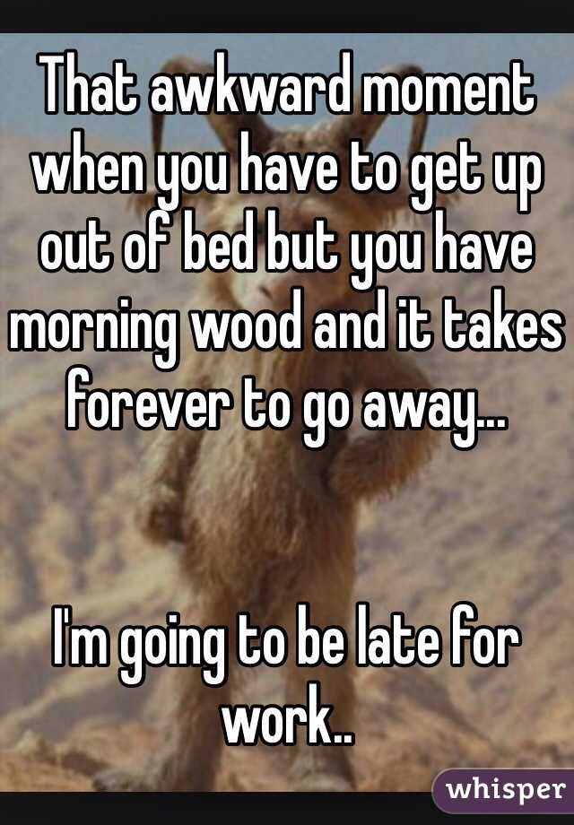 That awkward moment when you have to get up out of bed but you have morning wood and it takes forever to go away...   I'm going to be late for work..