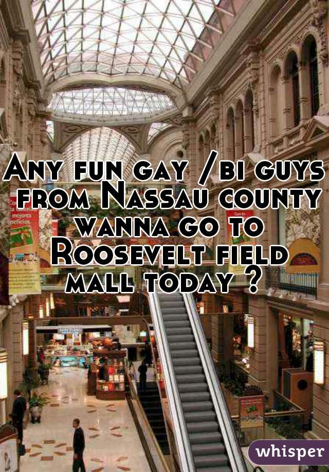 Any fun gay /bi guys from Nassau county wanna go to Roosevelt field mall today ?