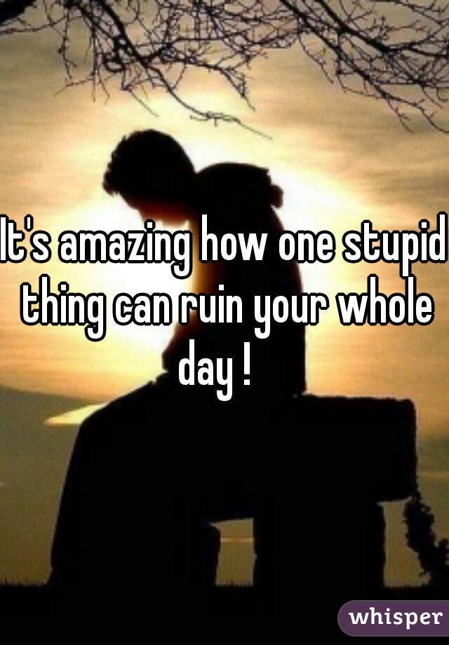 It's amazing how one stupid thing can ruin your whole day !