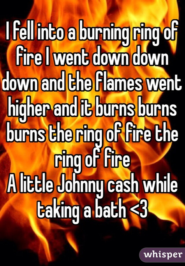I fell into a burning ring of fire I went down down down and the flames went higher and it burns burns burns the ring of fire the ring of fire  A little Johnny cash while taking a bath <3