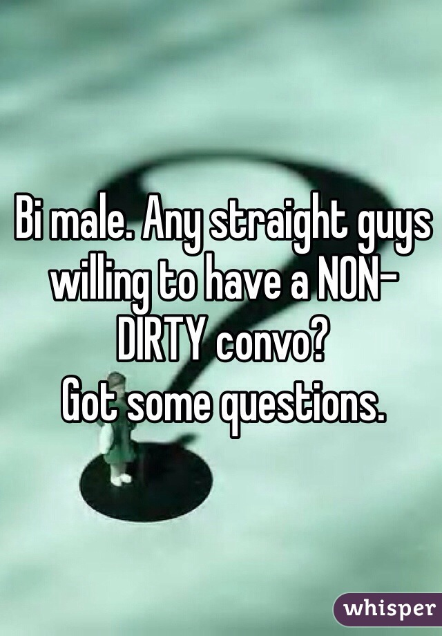 Bi male. Any straight guys willing to have a NON-DIRTY convo? Got some questions.