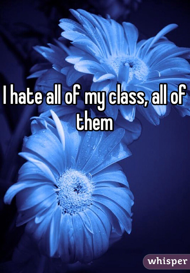 I hate all of my class, all of them