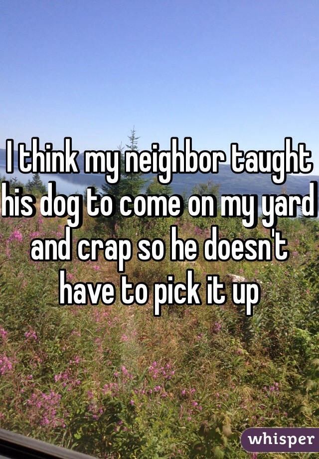 I think my neighbor taught his dog to come on my yard and crap so he doesn't have to pick it up