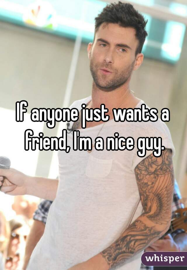 If anyone just wants a friend, I'm a nice guy.