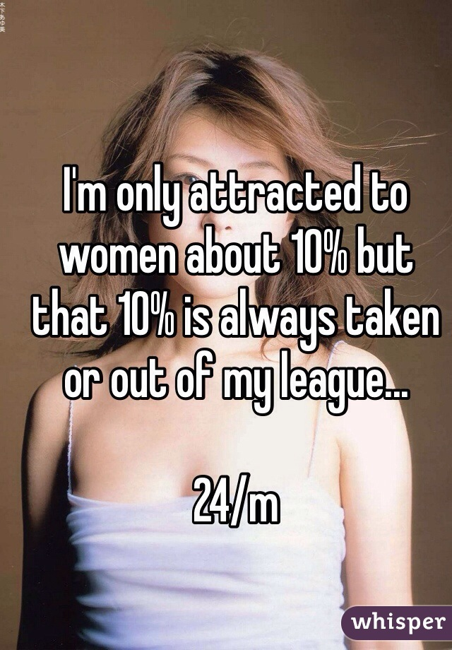 I'm only attracted to women about 10% but that 10% is always taken or out of my league...  24/m