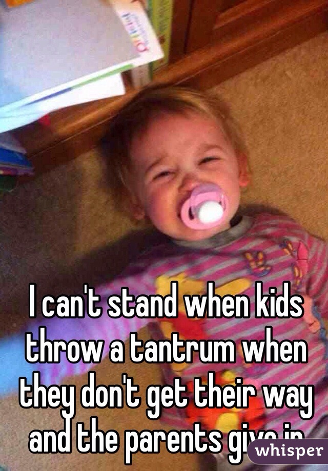 I can't stand when kids throw a tantrum when they don't get their way and the parents give in