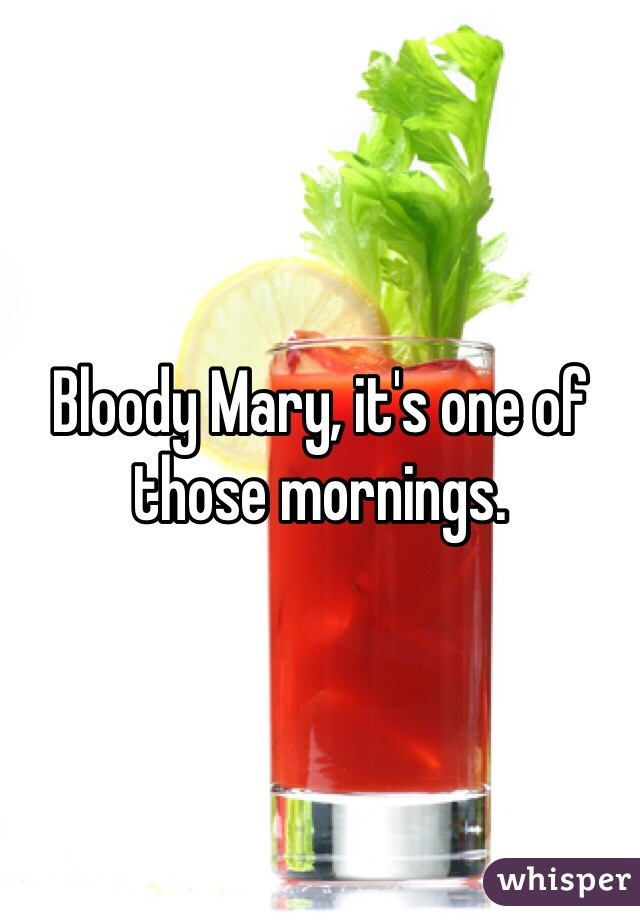 Bloody Mary, it's one of those mornings.