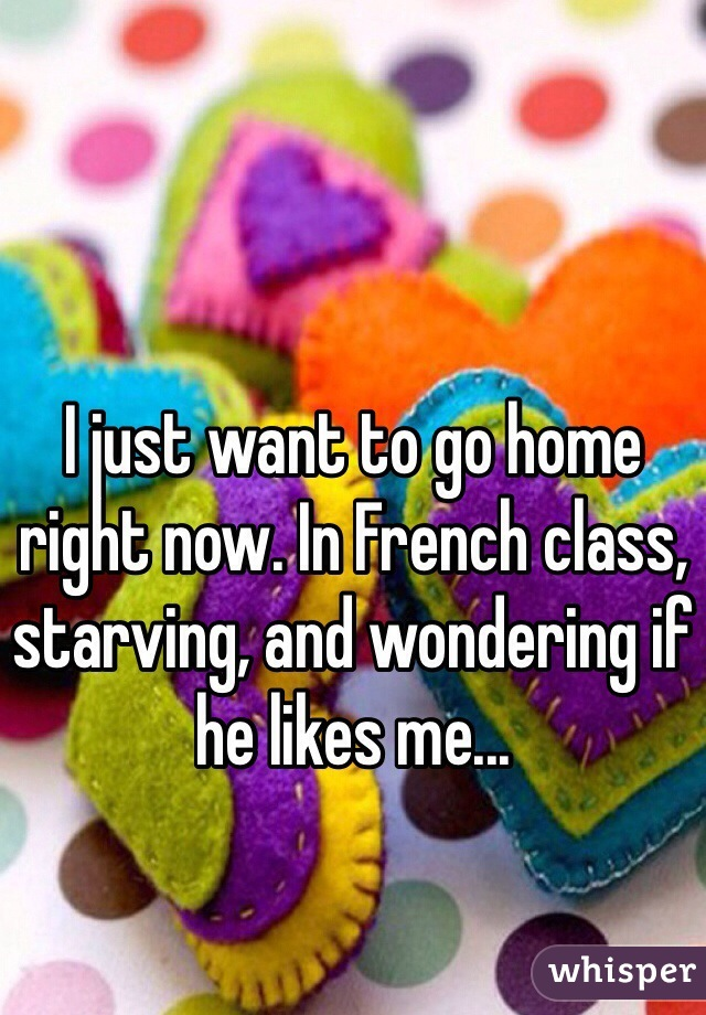 I just want to go home right now. In French class, starving, and wondering if he likes me...
