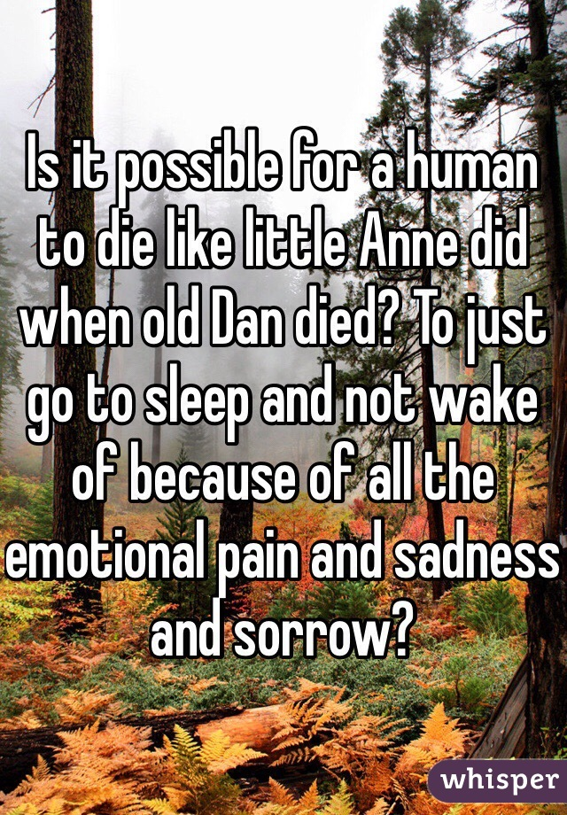 Is it possible for a human to die like little Anne did when old Dan died? To just go to sleep and not wake of because of all the emotional pain and sadness and sorrow?