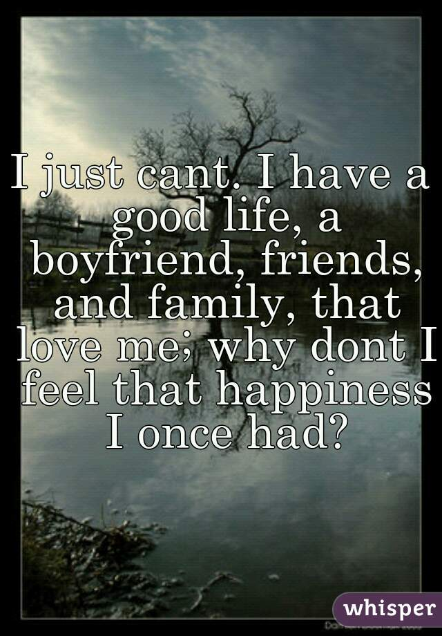 I just cant. I have a good life, a boyfriend, friends, and family, that love me; why dont I feel that happiness I once had?