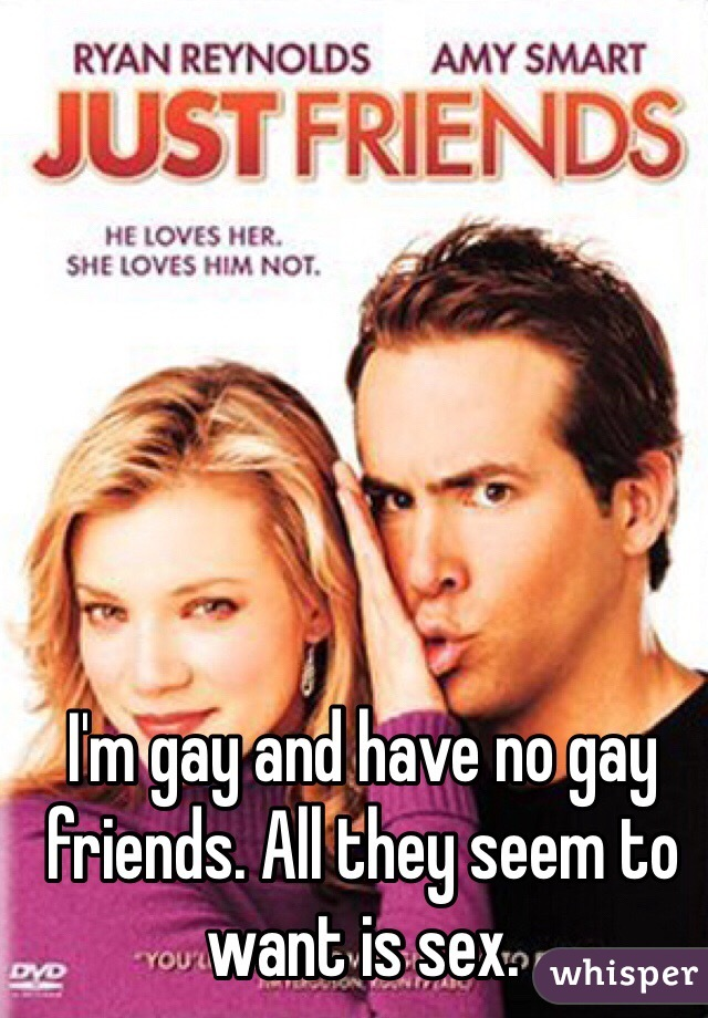 I'm gay and have no gay friends. All they seem to want is sex.