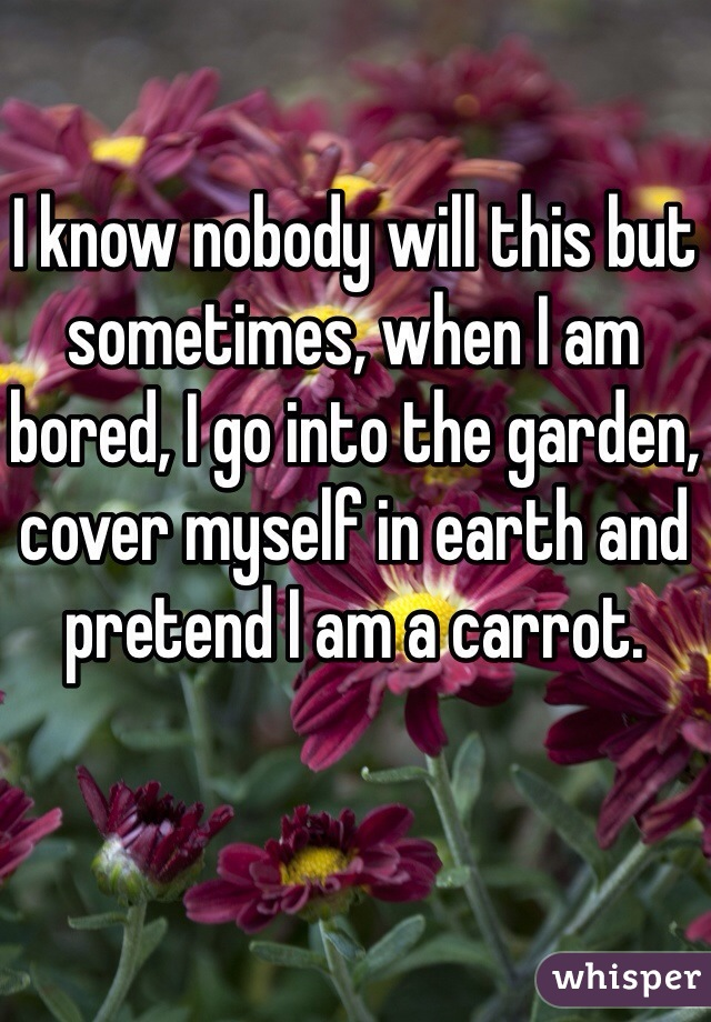I know nobody will this but sometimes, when I am bored, I go into the garden, cover myself in earth and pretend I am a carrot.