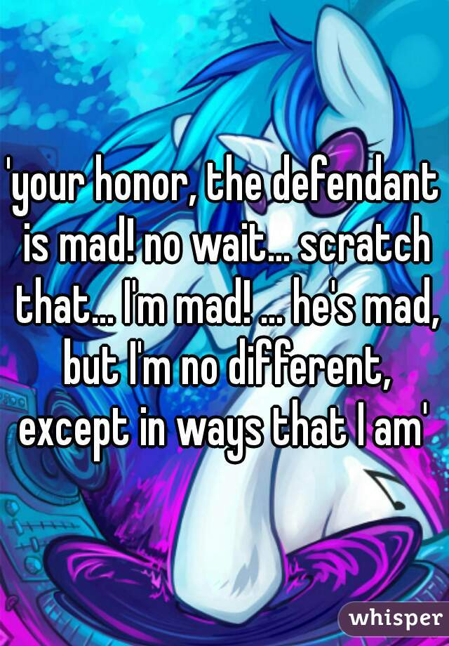 'your honor, the defendant is mad! no wait... scratch that... I'm mad! ... he's mad, but I'm no different, except in ways that I am'