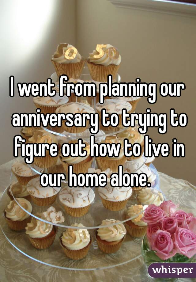 I went from planning our anniversary to trying to figure out how to live in our home alone.