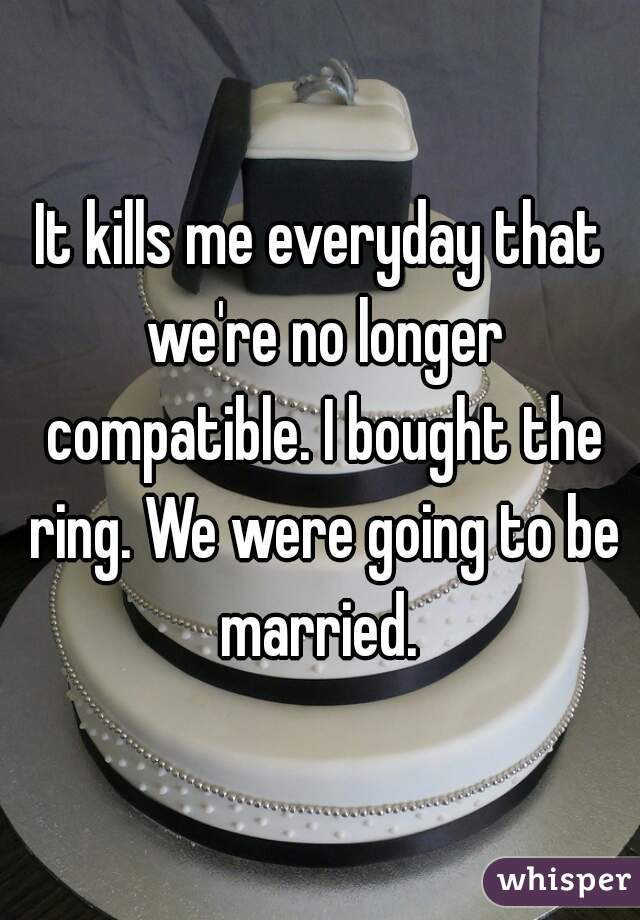It kills me everyday that we're no longer compatible. I bought the ring. We were going to be married.